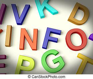 インフォメーション, 子供, 手紙, 多彩, 書かれた, プラスチック