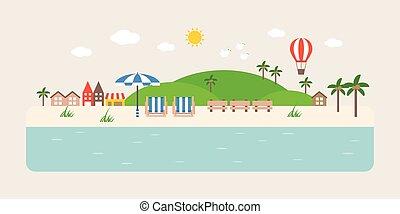 インフォメーション, 平ら, グラフィック, 観光客スポット, イラスト, ベクトル, デザイン, 沿岸である, 海,...