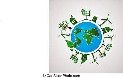 インフォメーション, 平ら, グラフィック, illustration., ベクトル, 惑星, エコロジー, 緑, design.