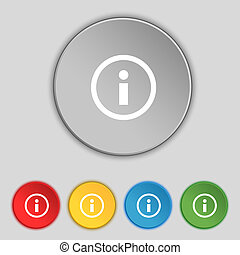 インフォメーション, 情報, buttons., セット, 色, シンボル。, 印, ベクトル, スピーチ, icon...