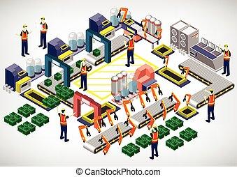 インフォメーション, 概念, 工場, イラスト, 装置, グラフィック