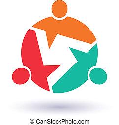 インフォメーション, 概念, image., 人々, グラフィック, community., 3, ベクトル, 呼出し, チームワーク, から, 情報, アイコン