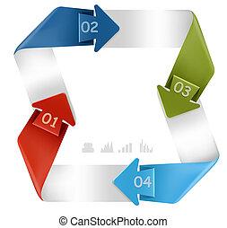 インフォメーション, 現代, イラスト, numbers., ベクトル, デザイン, グラフィックス, 旗, template.