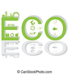 インフォメーション, 緑, グラフィック, エコロジー