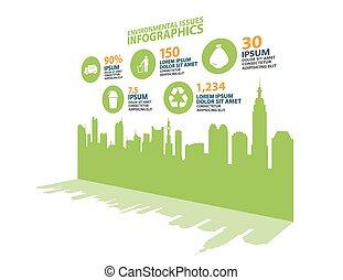 インフォメーション, 都市, エコロジー, グラフィック, ベクトル, 保護
