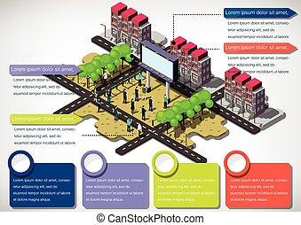 インフォメーション, 都市, 都市, イラスト, 概念, グラフィック