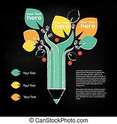 インフォメーション, 鉛筆, について, グラフィック, 木, 教育, growing.
