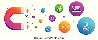 インフォメーション, algorithm, アイコン, テクニカル, set., システム, 速い, bitcoin, 出産, ベクトル, 助け, オンラインで, crowdfunding, signs.