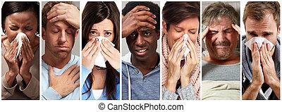 インフルエンザ, 人々, 病気, 寒い, くしゃみ, 持つこと