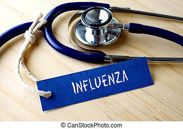 インフルエンザ, 単語, 木製である, 医学, ラベル, バックグラウンド。, 書かれた, タグ, 聴診器, 概念的な イメージ