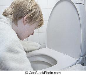 インフルエンザ, 男の子, 胃, 若い, 嘔吐