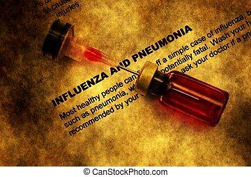 インフルエンザ, pneumonia, 概念, グランジ