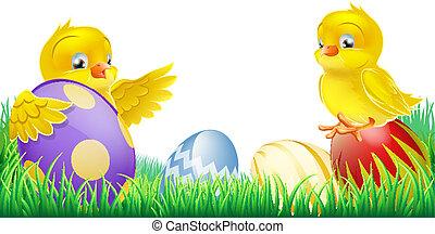 イースター, かわいい, ひよこ, 黄色, 卵