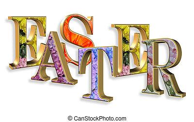 イースター, テキスト, 3d, 花, 顔