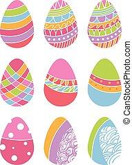 イースター, ベクトル, セット, eggs.