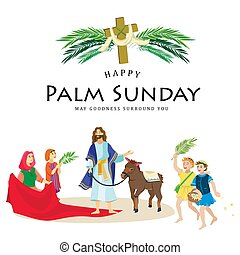 イースター, 人々, イエス・キリスト, エルサレム, やし, 挨拶, childrens, キリスト, ろば, palmtree, 宗教, 日曜日, 前に, 休日, 乗車, 幸せ, 入口, 祝福, イラスト, 葉, ベクトル, 人