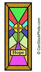 イースター, 希望, しみガラス, 窓