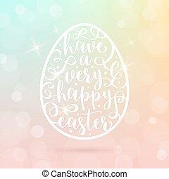 イースター, -, 挨拶, イラスト, calligraphic, ベクトル, 卵