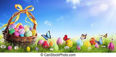 イースター, 日当たりが良い, 草, 卵, ペイントされた, バスケット, 背景, 春