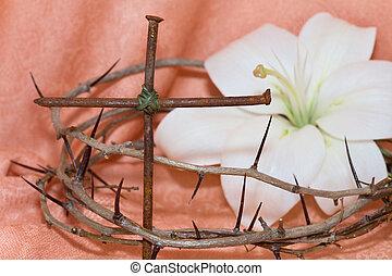 イースター, 王冠, とげ, 十字架像, 白いユリ