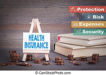 イーゼル, ビジネス, 概念, ミニチュア, 健康, 小さい, 保険, 変化しなさい