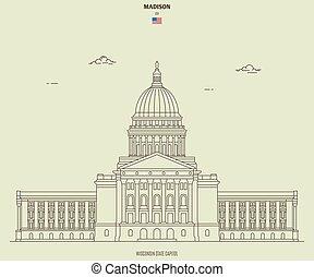 ウィスコンシンの国会議事堂, マジソン, ランドマーク, 州, アイコン, usa.