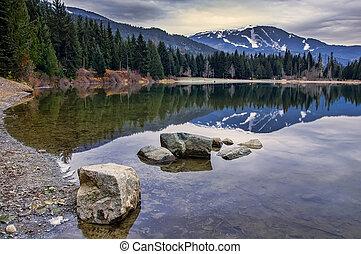 ウィスラー, 山, 反射, 池, 岩