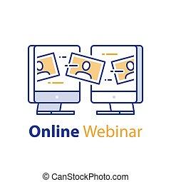 ウィルスである, インターネット, 網, 概念, 媒体, 社会, webinar, コミュニケーション, セミナー, 遠い, ミーティング, オンラインで, ビデオ, 勉強