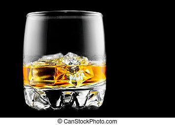 ウイスキー, 上に, ∥, rocks., ガラス, の, ウイスキー, ∥で∥, 氷, 隔離された, 上に, 黒い背景