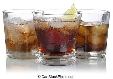 ウイスキー, 立方体, アルコール, 氷, コーラ