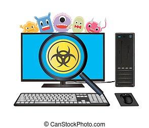 ウイルス, コンピュータ, デスクトップ