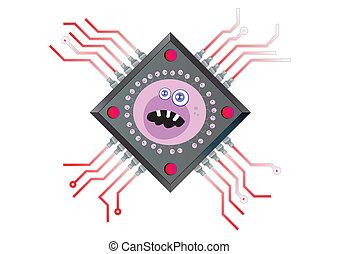 ウイルス, ベクトル, チップ, コンピュータ技術, イラスト, 動力を与えられる