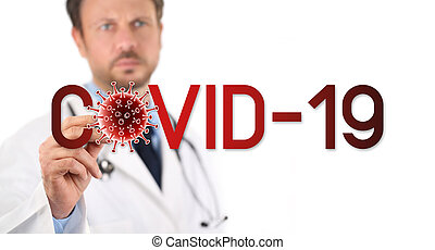 ウイルス, 19, シンボル, スクリーン, 書かれた, アイコン, covid, 赤い背景, コロナ, スペース, 医者, 感触, 隔離された, 白, コピー