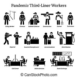 ウイルス, cliparts., 労働者, pandemic, third-liner