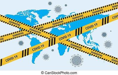 ウイルス, coronavirus, 概念, lockdown, 障壁, テープ, covid-19, ベクトル, 株...