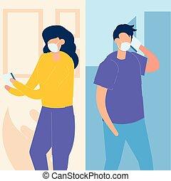 ウイルス, smartphone, 恋人, 場所, 社会, covid-19., 身に着けていること, 別, に対して, 媒体, 医学, 若い, マスク, 概念, コロナ, コミュニケートする