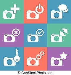 ウェブカメラ, セット, アイコン