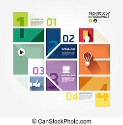 ウェブサイト, ありなさい, スタイル, 使われた, レイアウト, グラフィック, 現代, infographic,...