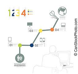 ウェブサイト, ありなさい, 使われた, レイアウト, 時間, ベクトル, グラフィック, ライン, 横, /,...