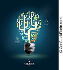 ウェブサイト, ありなさい, 使われた, レイアウト, infographic, ライト, 抽象的, ライン, /, 創造的, 切抜き, 写実的な 設計, 缶, テンプレート, infographics, 電球, 横, ベクトル, ∥あるいは∥