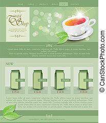 ウェブサイト, お茶, ベクトル, テンプレート, 店