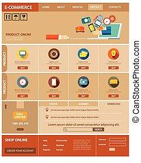 ウェブサイト, インターネット商業, デザイン, テンプレート, 平ら