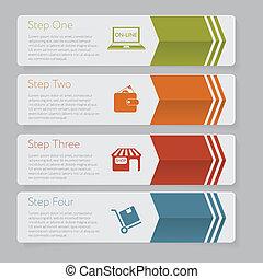 ウェブサイト, グラフィック, レイアウト, infographic., 数, デザイン, テンプレート, 旗, ∥...