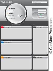 ウェブサイト, グレーのバックグラウンド, 暗い, デザイン, テンプレート
