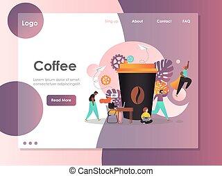 ウェブサイト, コーヒー, 着陸, ベクトル, デザイン, テンプレート, ページ