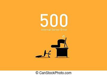 ウェブサイト, サーバー, 内部, 間違い, 500., error.