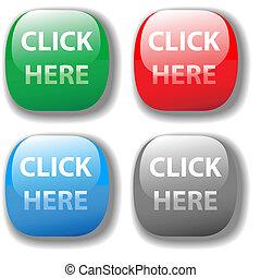ウェブサイト, セット, ボタン, ここに, 選択, 4, クリック
