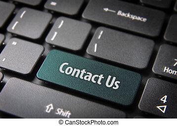 ウェブサイト, テンプレート, セクション, キー, 私達, 連絡, 背景, キーボード