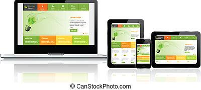 ウェブサイト, テンプレート, 上に, 多数, 装置