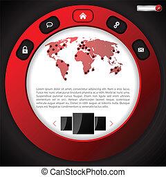 ウェブサイト, デザイン, テンプレート, リング, 赤, 涼しい